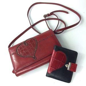 BRIGHTON | Cross Body Red Heart Handbag and Wallet